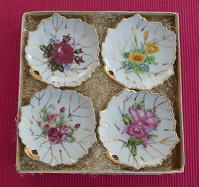 Collectable Vintage Set Of Floral Pin/butter Dishes With Gold Gilding Japan