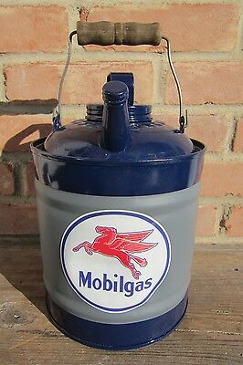"""""""Mobilgas"""" 1-Gallon Gas Can, Restored, New 4"""" Decal, both Caps & Wood Grip"""