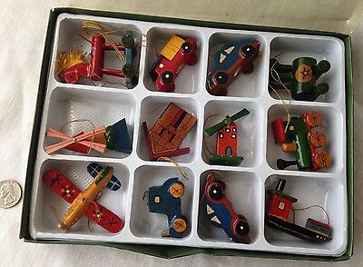 """Christmas Ornaments Box/12 Wooden Toys Cars Plane Boat VTG Biggest is 2.75"""""""