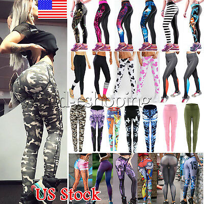 US Women Sports YOGA Workout Gym Fitness Stretch Leggings Pants Athletic Clothes