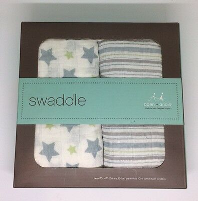 New Aden + Anais Blue Green Gray Star Stripes 2 Pk Muslin Swaddle Baby Blankets