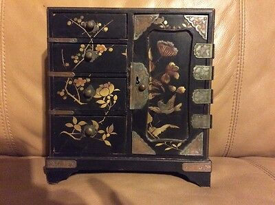 Antique 19th Century Black Lacquer Wood Hand Painted Standing Jewelry Box