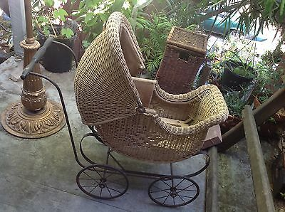 antique edwardian 1900s wicker baby buggy carriage stroller pram