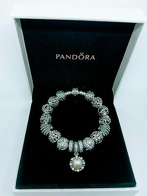 Genuine Pandora 18cm Moments Silver Bracelet with Pandora Lock and Charms