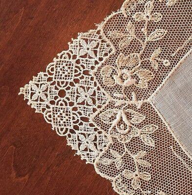 Antique Lace Ladies Handkerchief Machine Embroidered On Net Trim Fabric Bride