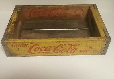 Vintage Yellow Coca-cola Wooden Crate Chattanooga 1968