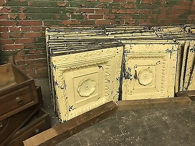 Antique Tin Ceiling Tile Panel. 2 Piece Recessed With Medallion Wall Art