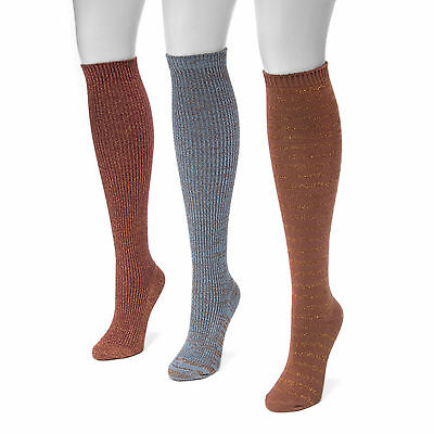 Muk Luks Women's 3 Pair Pack Lurex Knee High Socks MULTI-COLOR MSRP $30 NWT