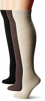 Muk Luks Women's 3 Pair Pack Diamond Knee High Socks BLACK/GRAY/TAN MSRP $30 NWT
