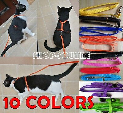 Nylon Cat Puppy Pet Harness Collar Lead Leash Walking Traction Safety Rope