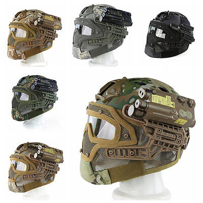 Military Tactical Airsoft Full Face Paintball Helmet Protector Mesh Mask Goggles