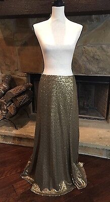 NWT Lane Bryant Gold Sequins Long Skirt Maxi Holiday Party Formal Evening  22