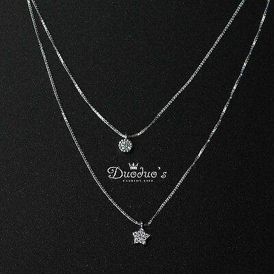 925 Sterling Silver Double-layer Clavicle Chain With Zircon Star Pendant