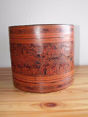 Antique Mid 18th Century Burmese Lacquer Betel Nut Box