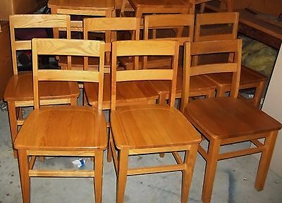 10 Solid Oak Courthouse Bankers Dining Chairs