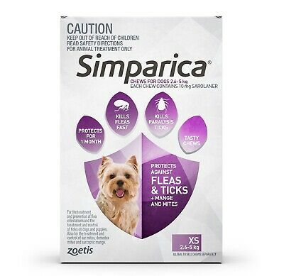 Simparica Flea & Tick Tablets for Puppy Dogs - Purple 3 Pack for dogs 2.6-5kgs