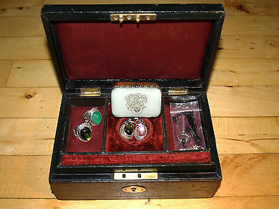 Antique Victorian jewellery trinket leather wodden black box some jewellery`s
