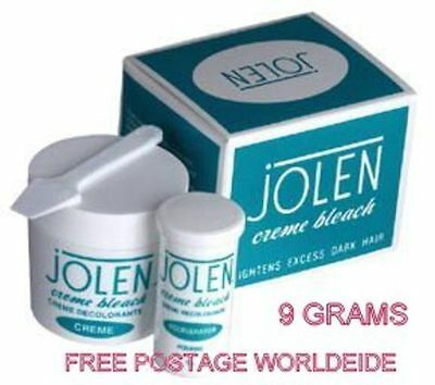 100 % GENUINE Jolen Creme Bleach Lightens Dark Facial Hair Cream 9 grams PACK