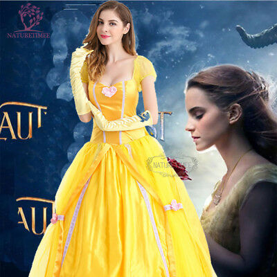 Belle Costume Adult Beauty and The Beast Princess Halloween Fancy Dress Party UK