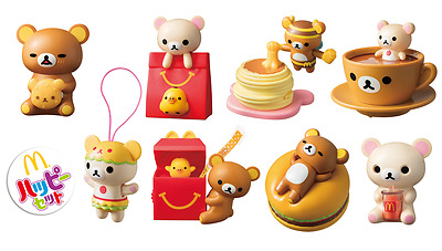 Rilakkuma McDonald's Happy Meal Toys Set of 8 Complete Stickers 2017 Japan F/S