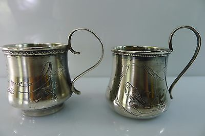 Antique Russian Silver Hallmarked Engraved / Decorated Small Mugs,cups, Goblets