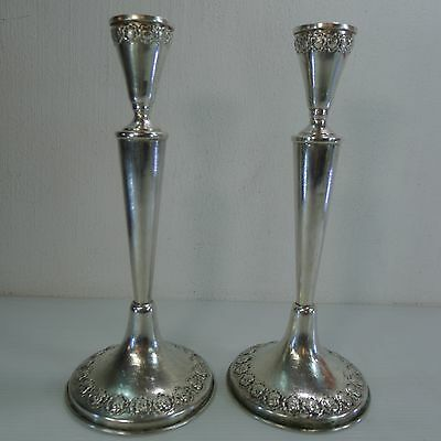 Two Vintage Silver 800 Decorated With Flowers Hazorfim Candle Stick Holders