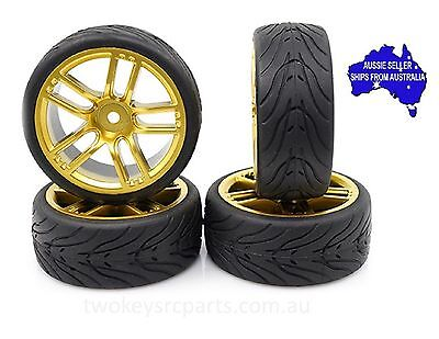 Yeah Spec T Gold 5D Wheels with Rubber tyres to suit 1:10 RC cars fit Tamiya HPI