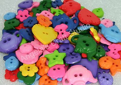 100 NOVELTY BRIGHT Buttons New Great for Sewing & Craft Projects Assorted Shapes