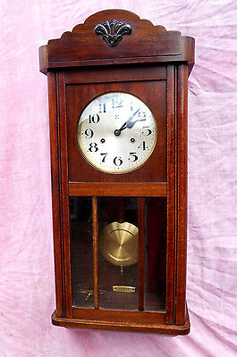 Old Oak Cased Chiming Vienna Wall Clock By Hac In Excellent Condition And Gwo