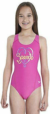Speedo Logo Plmt Spbk Jf Costume da Bagno Junior, Pink/Orange/Purple, 34 (y2d)