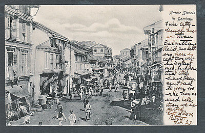 India..Busy Bombay Street Scene...People/Signs...1908 Postcard ...#813P2