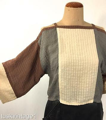 VINTAGE Cream grey brown SHEER STRAPPY open KIMONO sleeves cropped TOP BLOUSE M