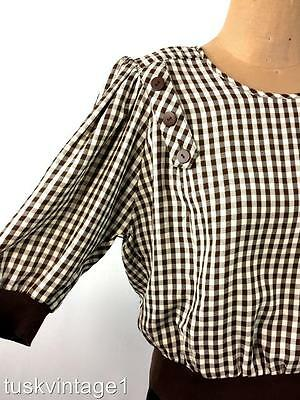 VINTAGE 80s BROWN ivory GINGHAM check buttons rib knit trim BLOUSE top 12 14