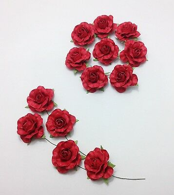 50pcs Red Mulberry Paper Roses 35mm Wedding Flowers Decoration Party celebration