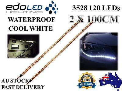 2X 1M 12V Waterproof Cool White 3528 Flexible Led Strip Lights Camping Boat Car