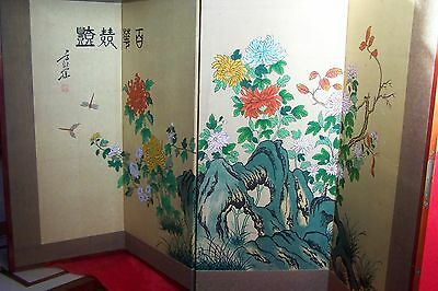 Vintage Chinese 4 Panel Screen..hand Painted.made In Republic Of China