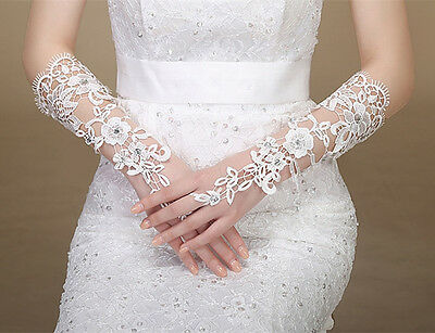 Wedding and Classy fingerless gloves Zirconia Lace Bridal gloves Spice