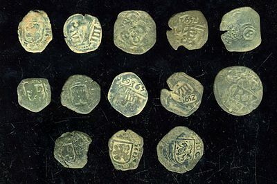 *bilbiles * Lot Of 13 Pirate Cobs Spanish Colonial Coins
