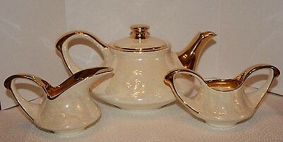 Vintage  Pearl China Co. Teapot,Creamer And Sugar Bowl Hand Decorated 22 kt Gold
