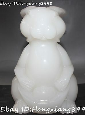 "6"" Chinese White Jade Carving Wealth Money Yuanbao Rabbit Rabbits Animal Statue"