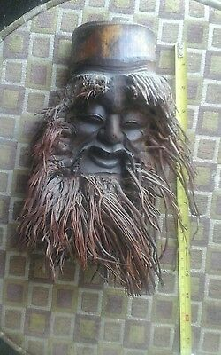 Carved BAMBOO ROOT Wooden HEAD SCULPTURE Long Bearded OLD MAN