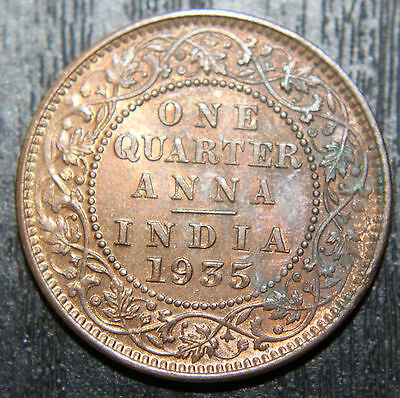1935(c) INDIA 1/4 ANNA Uncirculated KGV COIN - KM512