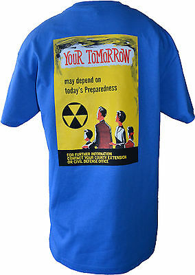 RETRO CIVIL DEFENSE T-SHIRTS FROM ORIG. POSTER DESIGNS ( Your Tomorrow-BLUE)