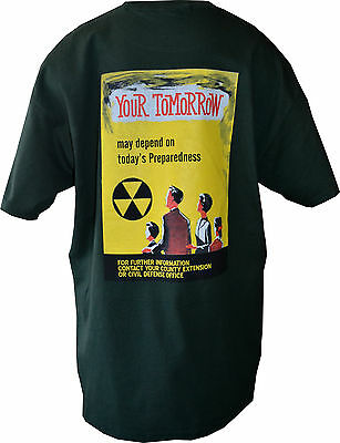 Retro Civil Defense T-Shirts From Orig. Poster Designs ( Your Tomorrow-Green)