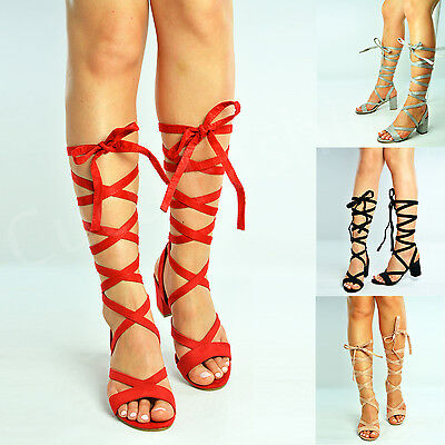 New Womens Ankle Tie Strappy Sandals Ladies Block Heels Peep Toe Shoes Size Uk