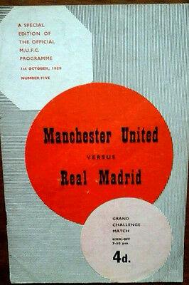 Man Utd V Real Madrid 1/10/1959 Challenge Match + Token