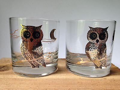 2 Vintage Couroc Owl Drinking Tumblers Glasses Cocktail Bar Gold MOON