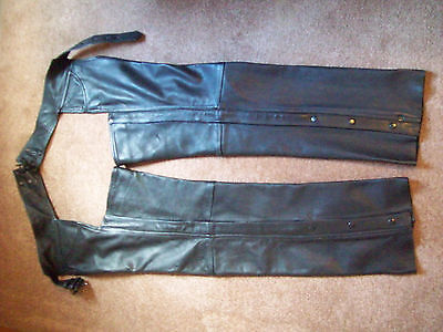 Hudson Leather Black Leather Lined Chaps, Size Large