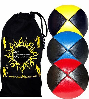 Pro Juggling Balls  Deluxe LEATHER Professional Juggling Balls 3 set +  Bag