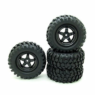 RC 1:10 Buggy Rubber Tires 5 Spoke Wheel Rim for RC HSP 1/10 Off-Road Pack of 4
